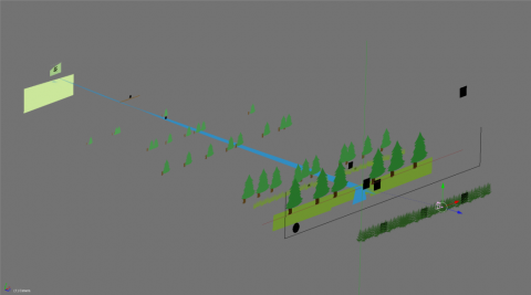 isometric view of a 2D approach level construction
