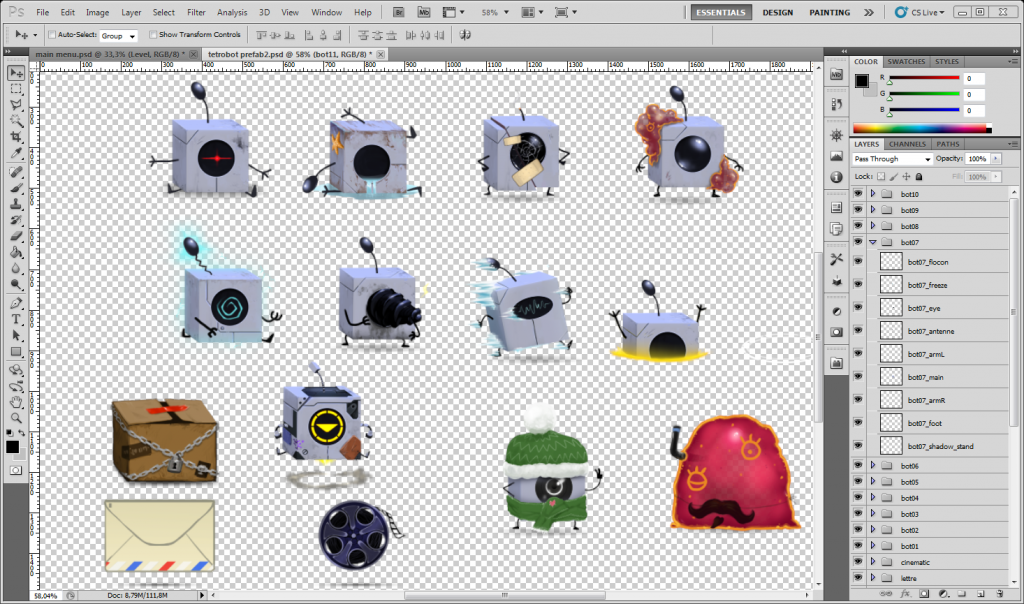tetrobots in Photoshop